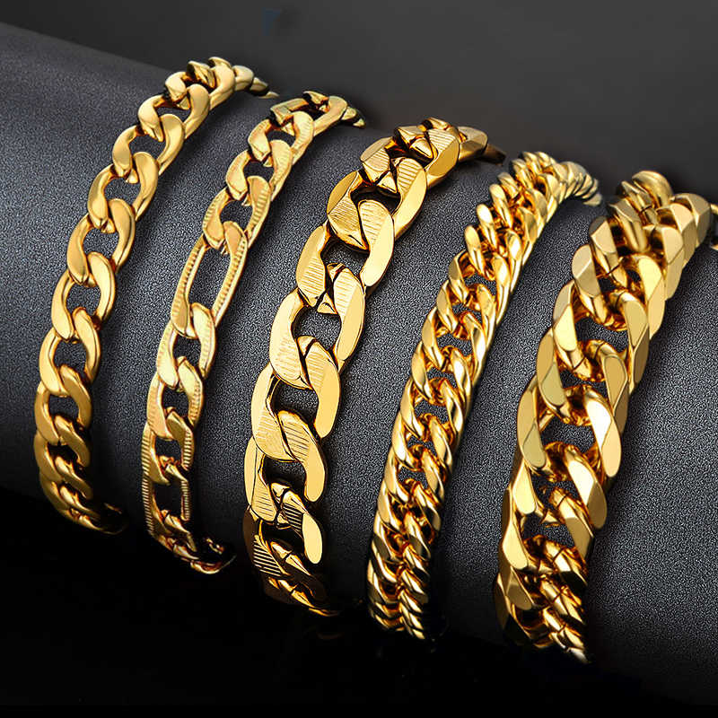 Mens Gold Chain Men Bracelet Cuban Link Chain Stainless Steel Chain & Link Bracelets for Man New Braslet Gold Color Jewelry