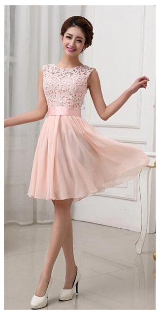 Gasa del cordón del remiendo lindo tanque sin mangas del verano de princesa dress dress delgado corto elegante prom party dress robe mk096