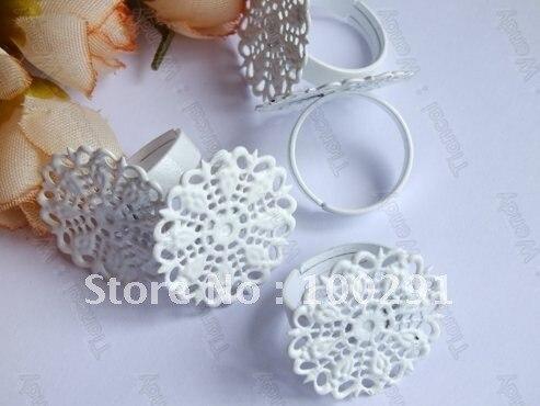 أبيض اللون 25 ملليمتر سادة 100 قطعة حلقة إعداد قاعدة فراغات حلقة حلقة-في مكونات ولوازم المجوهرات من الإكسسوارات والجواهر على  مجموعة 1