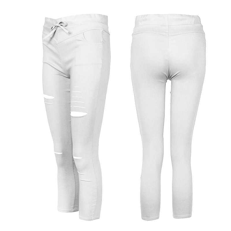 7f6a4d277c79c ... 2019 Women Casual Denim Skinny Cut Pencil Pants High Waist Stretch  Imitation jeans Trousers Elasticity Drawstring