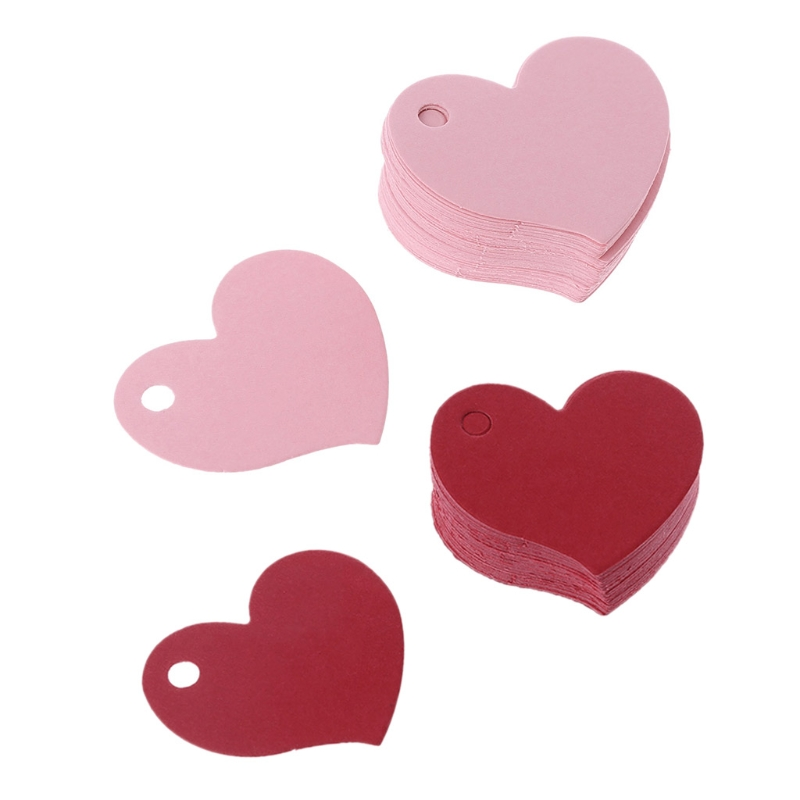 50Pcs Heart Shape Blank Kraft Paper Card Gift Tag Label DIY Party Wedding Crafts