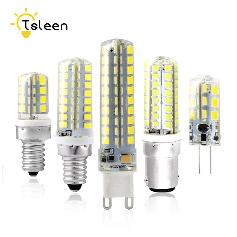 TSLEEN SMD2835 LED Silicone Corn Bulb White Warm White Light AC DC 12V 220V G4 G9 E12 E14 Replace 20-50W Halogen Lamp Chandelier