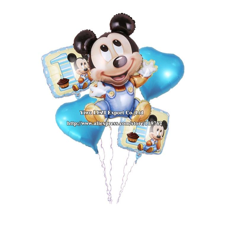 Hot sale 5 pcs/lots Mickey Mouse Happy birthday balloon decoration cartoon party