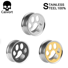 Jewelry Piercing Casvort Ear-Plugs Stainless-Steel Double-Flared Pair Dog-Paw-Body Selling