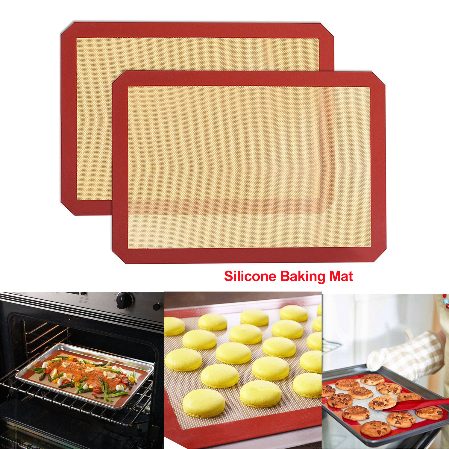Large Size For Cake Cookie Macaron Less Expensive 42*29.5cm Baking Sheet Glass Fiber Rolling Dough Mat Considerate Hot Non-stick Silicone Baking Mat Pad