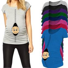 2016 New baby peeking out Maternity Shirt Top Pregnancy Clothing Great Gift Cheap Tees Casual plus