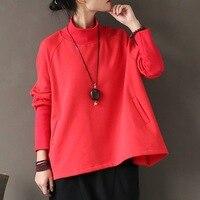 Automne Hiver Femmes Hoodies Solide Rouge Noir Coton Col Roulé Pull Manteau Plus La taille Lâche Occasionnel À Capuche Harajuku style A287