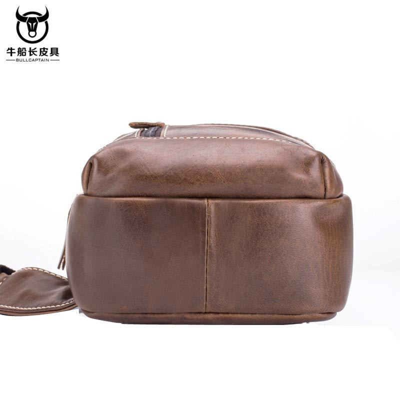 Image 5 - BULLCAPTAIN Vintage Men's Leather One Shoulder Crossbody Leather handbag Chest bag men leather bag Men's Cross Body Shoulder bag-in Waist Packs from Luggage & Bags