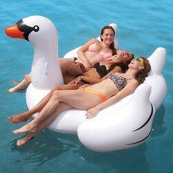 60 Inch 1.5M géant gonflable cygne piscine flotteur chevauchée cygne piscine anneau de natation fête de vacances eau plaisir jouets îles Boias Piscina