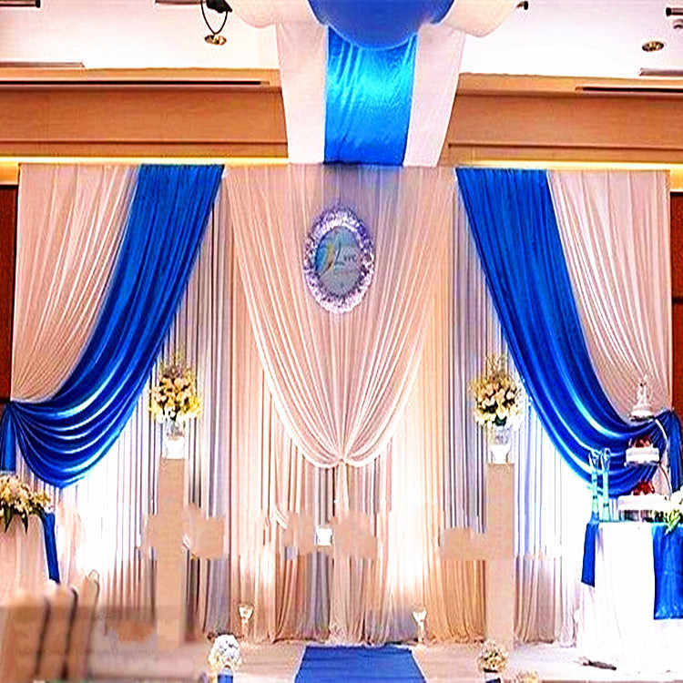 3 м * 6 м Ice Шелковый свадьба фон Шторы белый и синий свейд-сатин партии backgroundd простыня Шторы Свадебные украшения