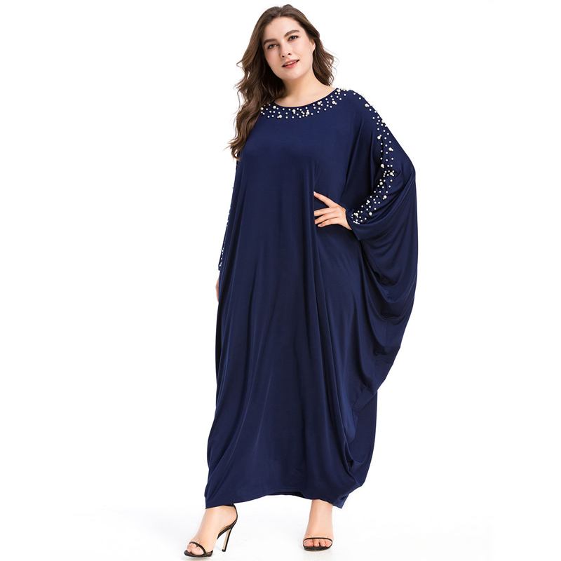 Arabe élégant lâche Abaya caftan mode islamique perles Robe musulmane conception de vêtements femmes manches chauve-souris dubaï Abaya Robe bleu marine - 2