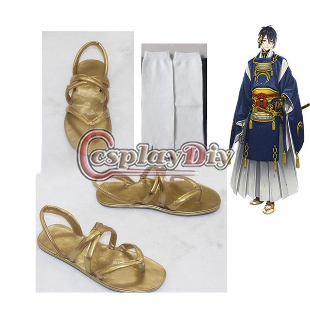 Anime Touken Ranbu Mikazuki Munechika Zapatos Adultos Carnaval Cosplay Sandalias Con Calcetines D0610