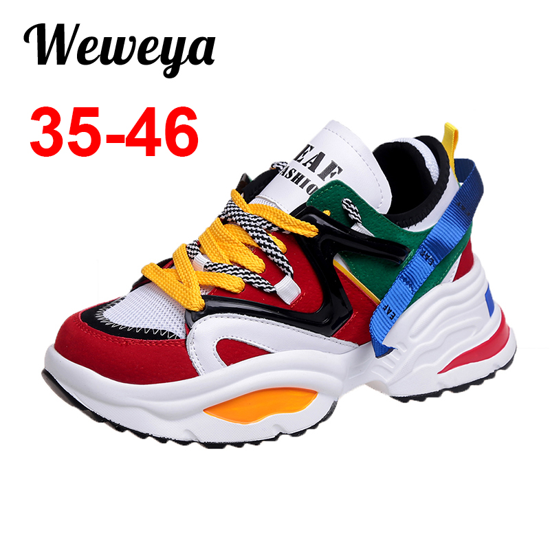 Weweya Women Walking Shoes Increasing 6CM INS Ulzza Harajuku Sneakers Cushioning Height Platform Breathable Wave Baskets Femme(China)