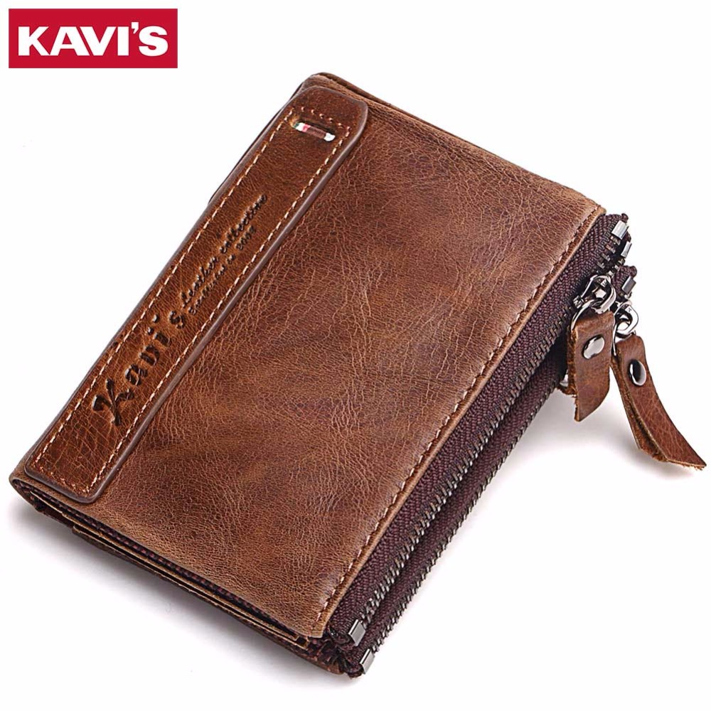 KAVIS 100% Genuine Leather Men Wallet Small Zipper Men Walet Portomonee Male Short Coin Purse Brand Perse Carteira For Rfid