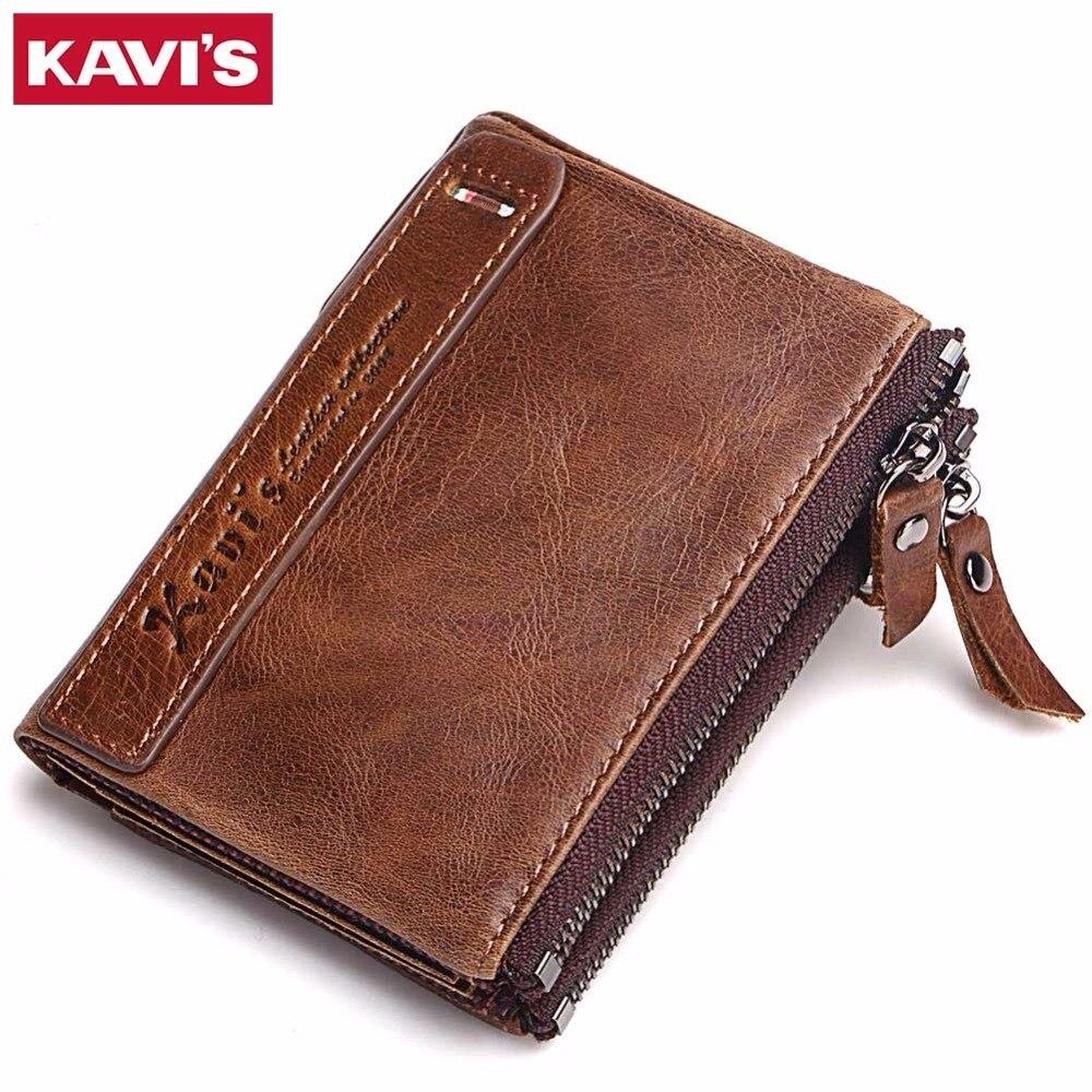 KAVIS 100% Echtes Leder Männer Brieftasche Kleine Reißverschluss Männer Walet Portomonee Männlichen Kurzen Geldbörse Marke Perse Carteira Für Rfid
