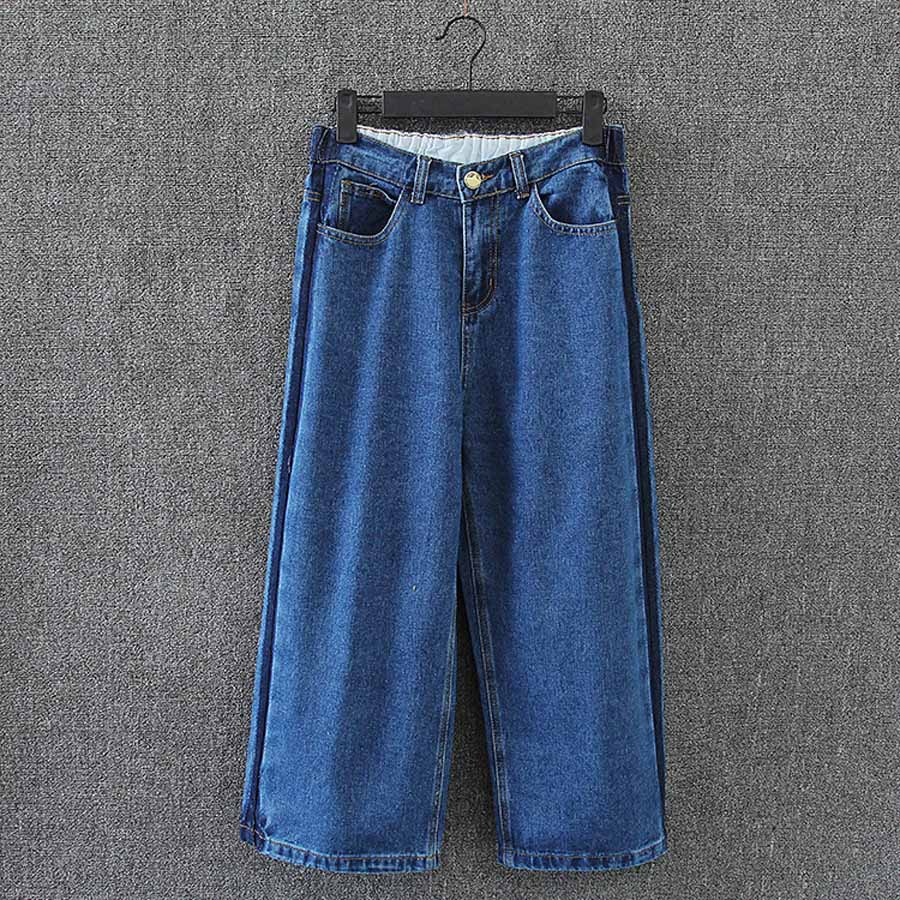 Wide Leg Jeans Women Brand New Plus Size 3 4 XL Loose Casual Denim Jeans Female Trousers Blue KK3006 calvin klein new blue printed drawstring wide leg women s size xl pants $79 035