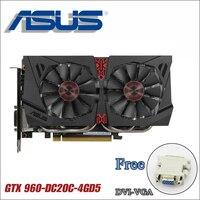 ASUS использовали видеокарты ПК оригинальный GTX 960 4G B 128Bit GDDR5 Графика карты для nVIDIA видеокартами Geforce GTX960 Hdmi Dvi игры 4G