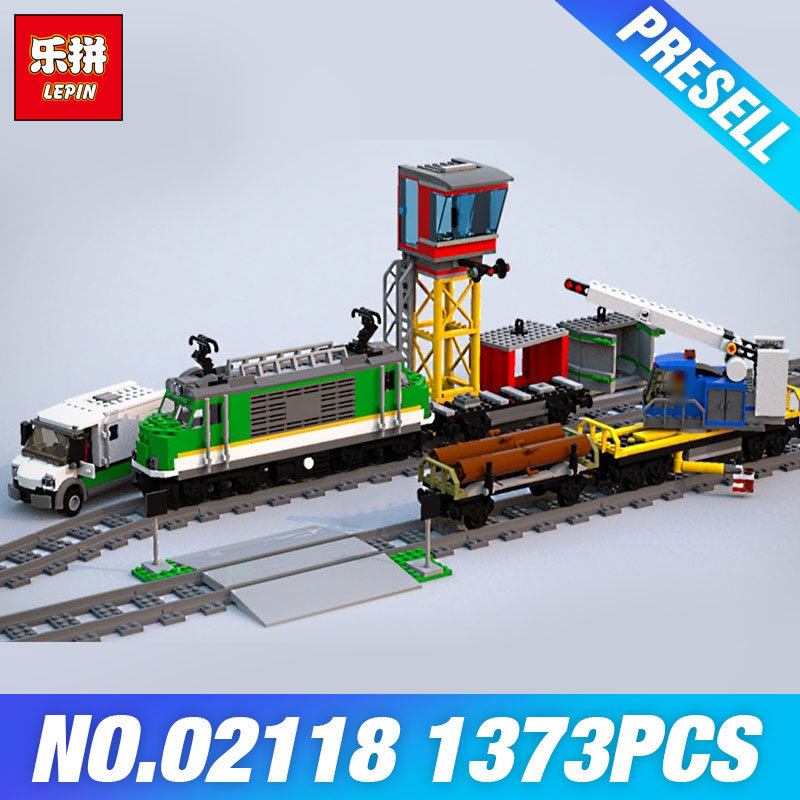 Lepin 02118 City Toys Series The 60198 Cargo Train Set Model Building Blocks Bricks Kits Car Kids Toys Birthday Christmas Gift