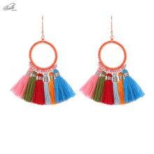 Badu Ethnic Colorful Dangle Earring for Women Round Cotton Tassel Boho Jewelry Japanese Seed Beads Handcrafts Fashion Wholesale
