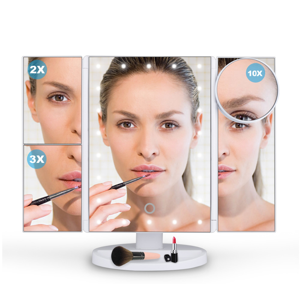 LED Makeup Mirror 22 LED Lighted Touch Screen 1X/2X/3X/10X Magnification Foldable Adjustable Magnifying LED Mirror