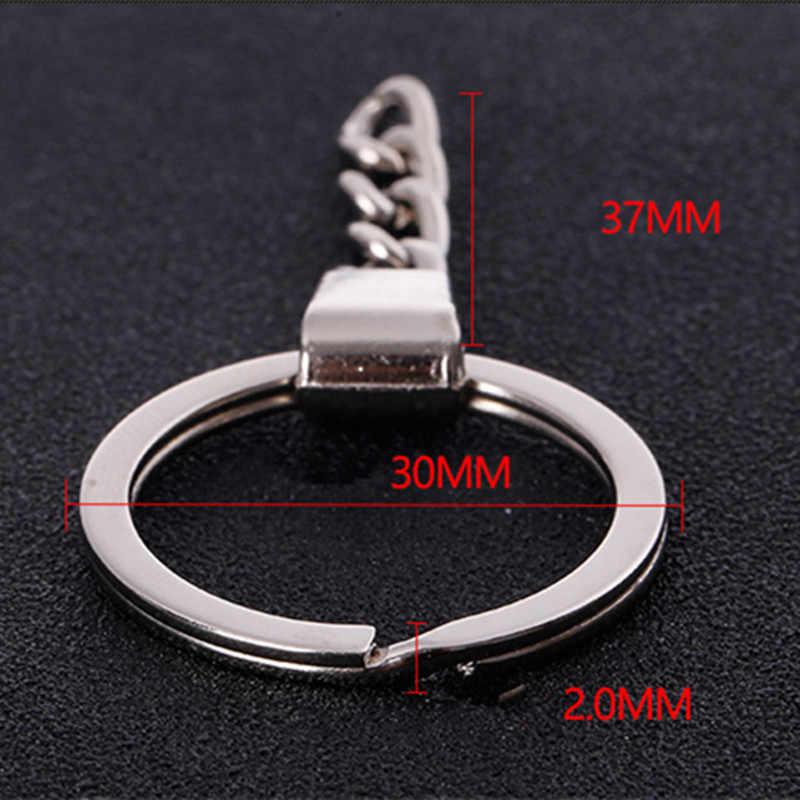 Полированный серебряный цвет 30 мм брелок для ключей разъемное кольцо с короткой цепочкой брелоки для женщин и мужчин DIY брелоки цепочки, Аксессуары 1 шт