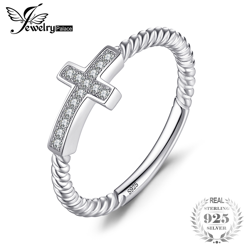 JewelryPalace Cross Round Cubic Zirconia Peace Statement Ring For Women Jewelry Real 925 Sterling Silver Fashion Women Jewelry
