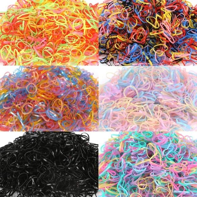 1000 pcs/lot Random Fashion Mixed Colors Small Circle Hair Accessories for girls Natural Strong Elastic Rubber Bands 2