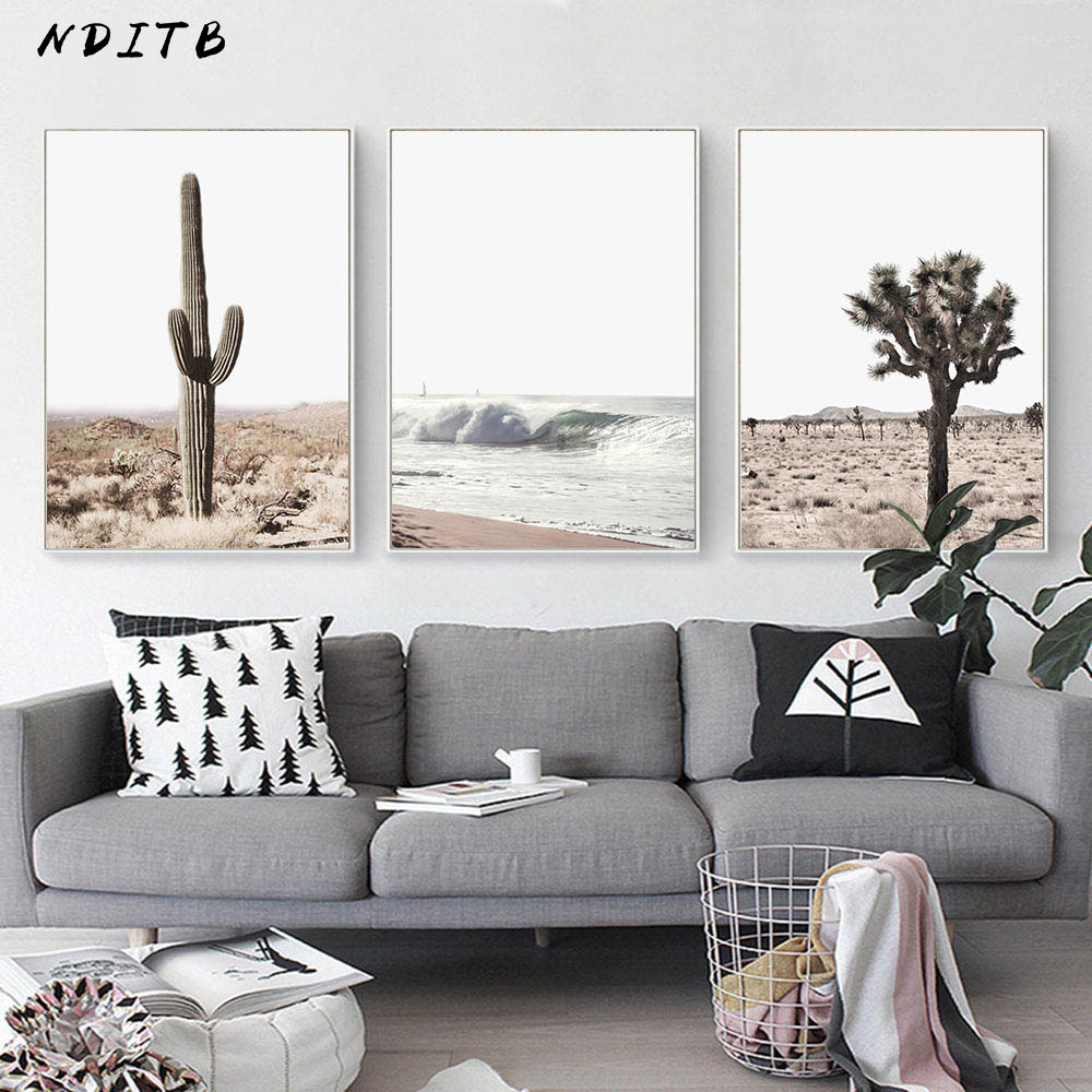 Desert Cactus Canvas Poster Nordic Landscape Print Modern Wall Art Painting Nature Decorative Picture Scandinavian Home Decor