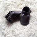 New T-bar Dark Grey buckle solid genuine leather baby shoes first walker Toddler infant hard sole Kids baby moccasins shoes