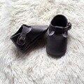 Nueva t-bar Gris Oscuro hebilla sólido duro suela de cuero genuino zapatos de bebé primeros caminante del niño infantil Niños bebé mocasines zapatos
