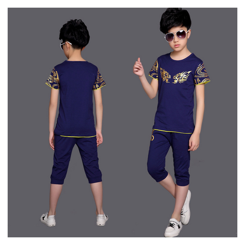 2017 Kids Boys Summer Suit Baby Boys Clothing Sets Teenager Short-sleeved Set Children's Cotton T-shirt + Boys Shorts 110-150cm