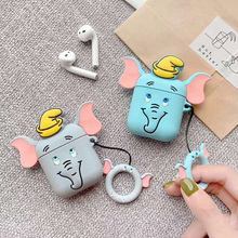 Cute 3D Elephant Earphone Case For Apple AirPods Case Wireless Bluetooth Cartoon Soft Silicone TPU Headset Cover with Ring Strap