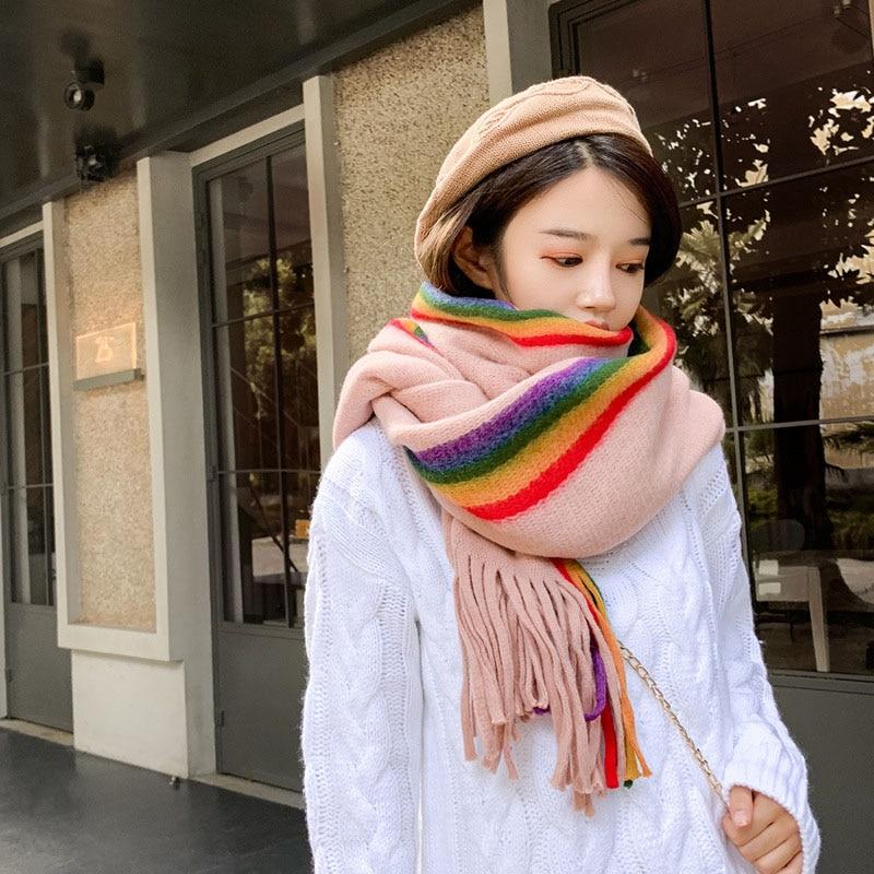 New Designer Rainbow Cashmere Scarf Women Winter Warm Shawls Soft Pashmina Striped Ladies Tassel Long Wrap
