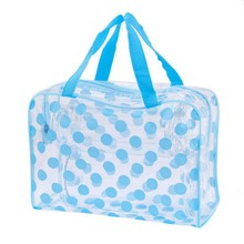 New 2019 PVC Dot Cosmetic Bag Casual Transparent Make Up Women Bag Toiletry Waterproof Travel Storage Beauty Makeup Wash Case new women clear transparent plastic pvc cosmetic bags casual travel waterproof toiletry wash bathing storage zip bag