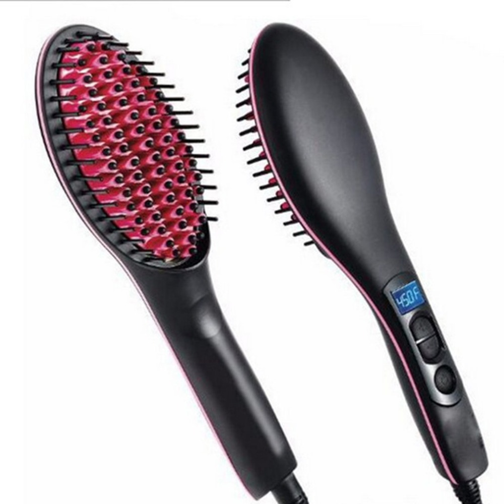 Hair Straight Electric Brush Portable Size Handheld Ceramic Professional LCD Display Fast Straightener Hair Straightener Comb все цены