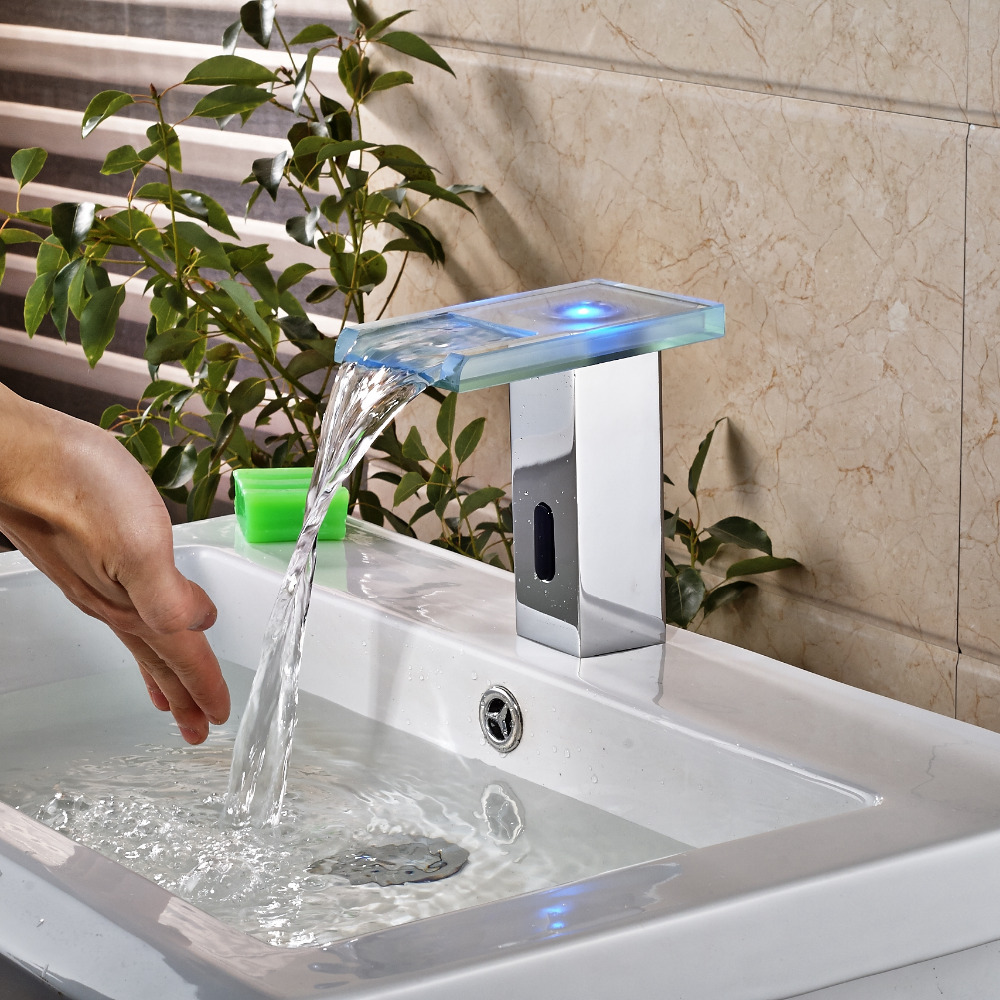 Modern Square Polished Chrome Bathroom Faucet Blue LED Glass Waterfall Faucet
