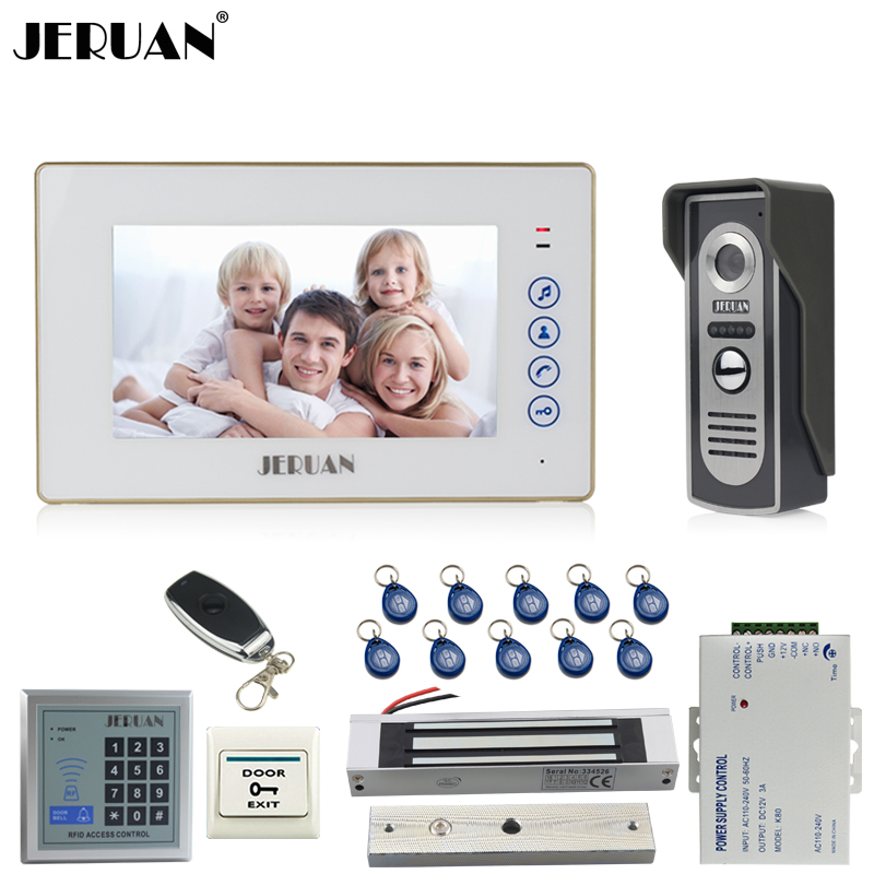 JERUAN 7 inch Video Door phone Intercom System kit 1 White Touch Key Monitor 700TVL IR COMS Camera RFID Access Controller jeruan home 7 video door phone intercom system kit 1 white monitor metal 700tvl ir pinhole camera rfid access control in stock