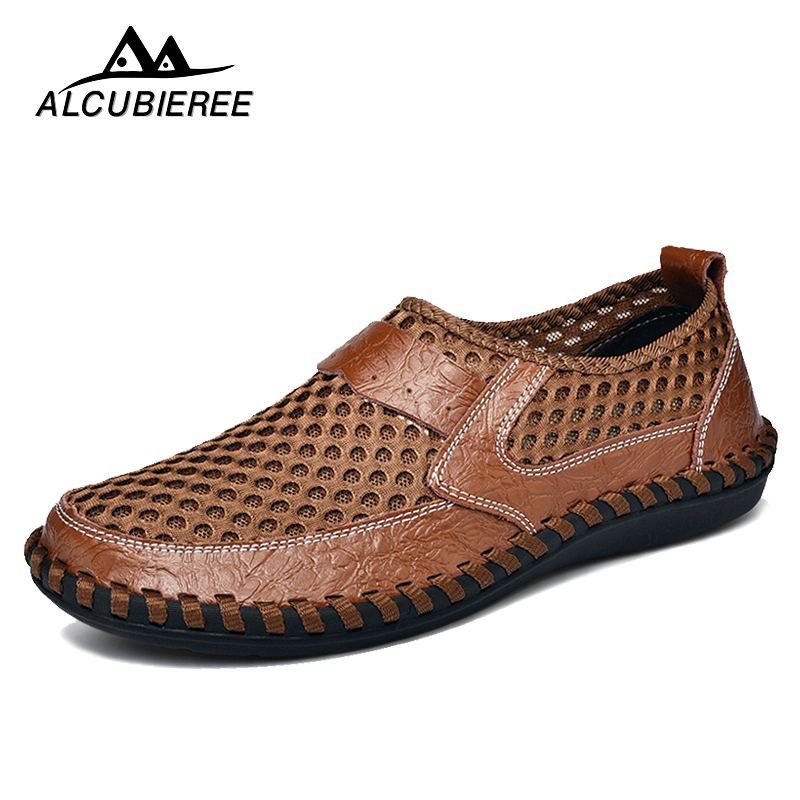 Men Casual Shoes Leather Breathable Comfortable Sports Summer Brand Sapato Masculino Flats Male 2018 Hot Sale ALCUBIEREE