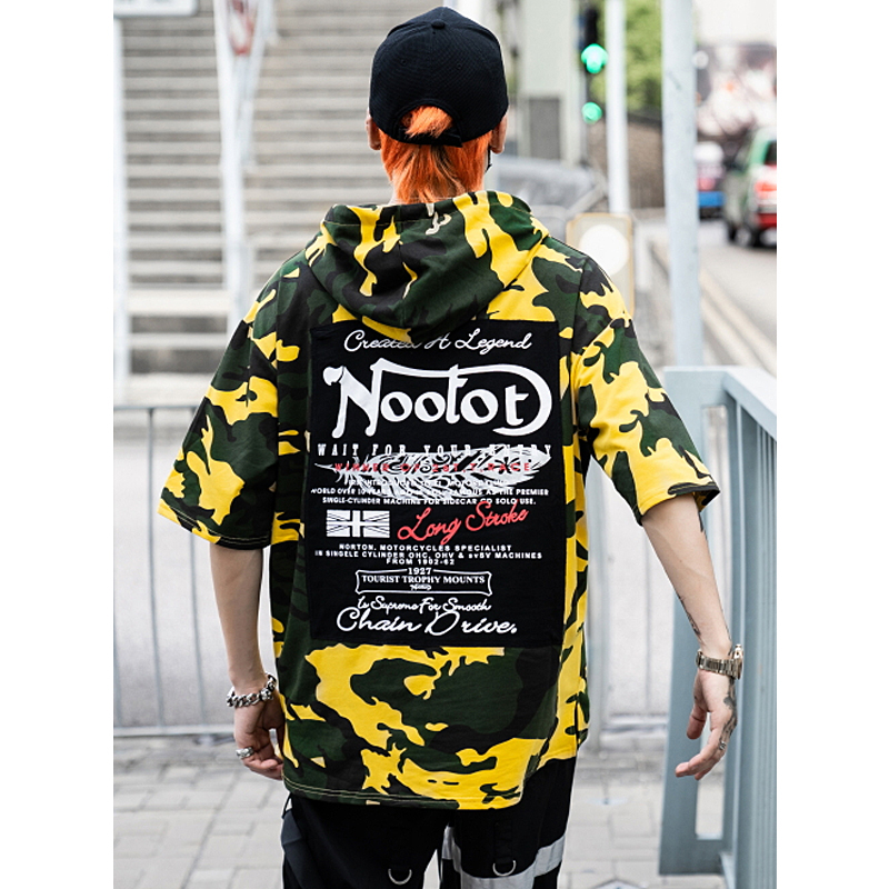 UNCLEDONJM Camouflage Short Sleeve Hooded Sweatshirts Harajuku Casual Hoodies Streetwear 2019 Summer Fashion Men 39 s Clothing 277S in Hoodies amp Sweatshirts from Men 39 s Clothing