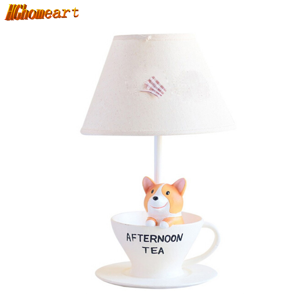 Hghomeart Children Room Lovely Puppy Table Lamp E14 110-220V Switch Button Table Led Lamp Fashion Birthday Gifts Kids Desk Lamps hghomeart children room captain bear modern table lamp kids wooden desk lamp e14 reading led lamp switch button study lamps
