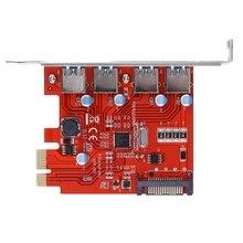 4 Порта PCI-E для USB 3.0 PCI Express Карты Расширения с ПОМОЩЬЮ 5 Гбит/с SATA 15-контактный Разъем Питания для Рабочего Стола красный