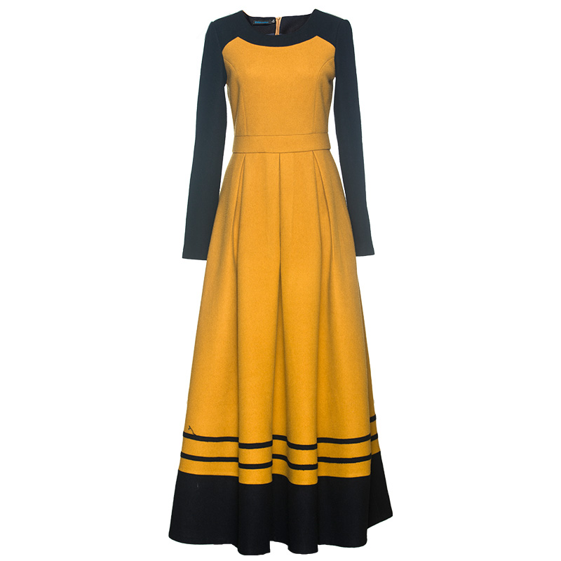 Mince Année Office Lady Tendance Partie Robes Laine Hiver Dz8073 Automne Piste Patchwork Robe De Soirée Nouvelle 7vfCqw7