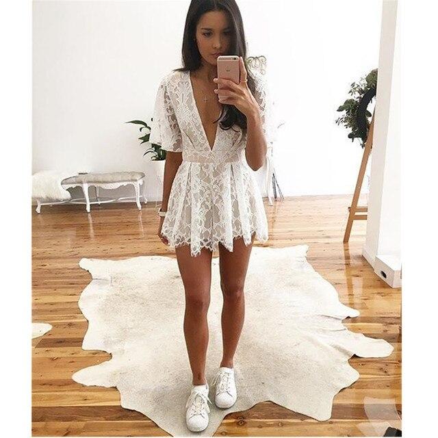 a513c4cb704 Womens Lace Jumpsuit Bodycon Playsuit Clubwear Party Short Romper Suit  White Sexy Deep V Neck