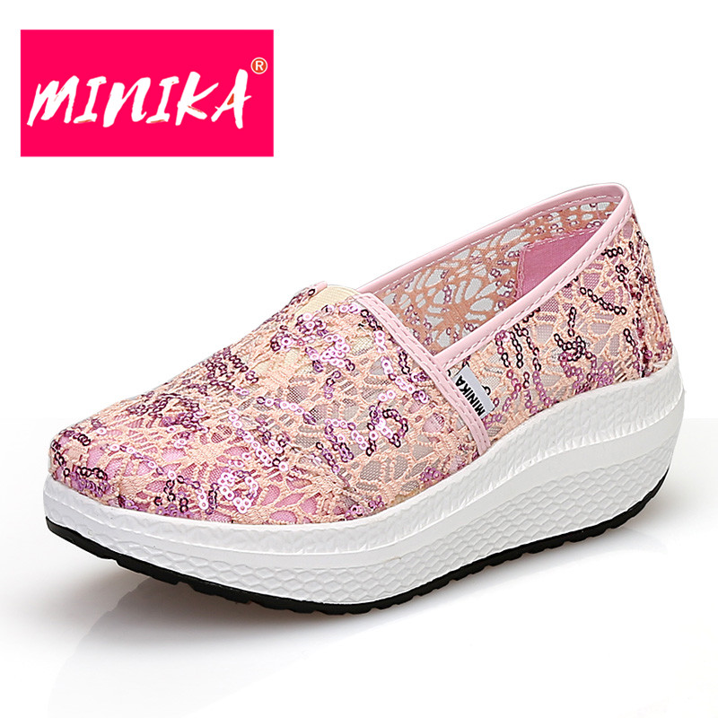 MINIKA Breathable Mesh Lace Shoes Women Thick Bottom Shallow Mouth Women Casual Shoes Slip On Flat Shoes Women High Quality стоимость