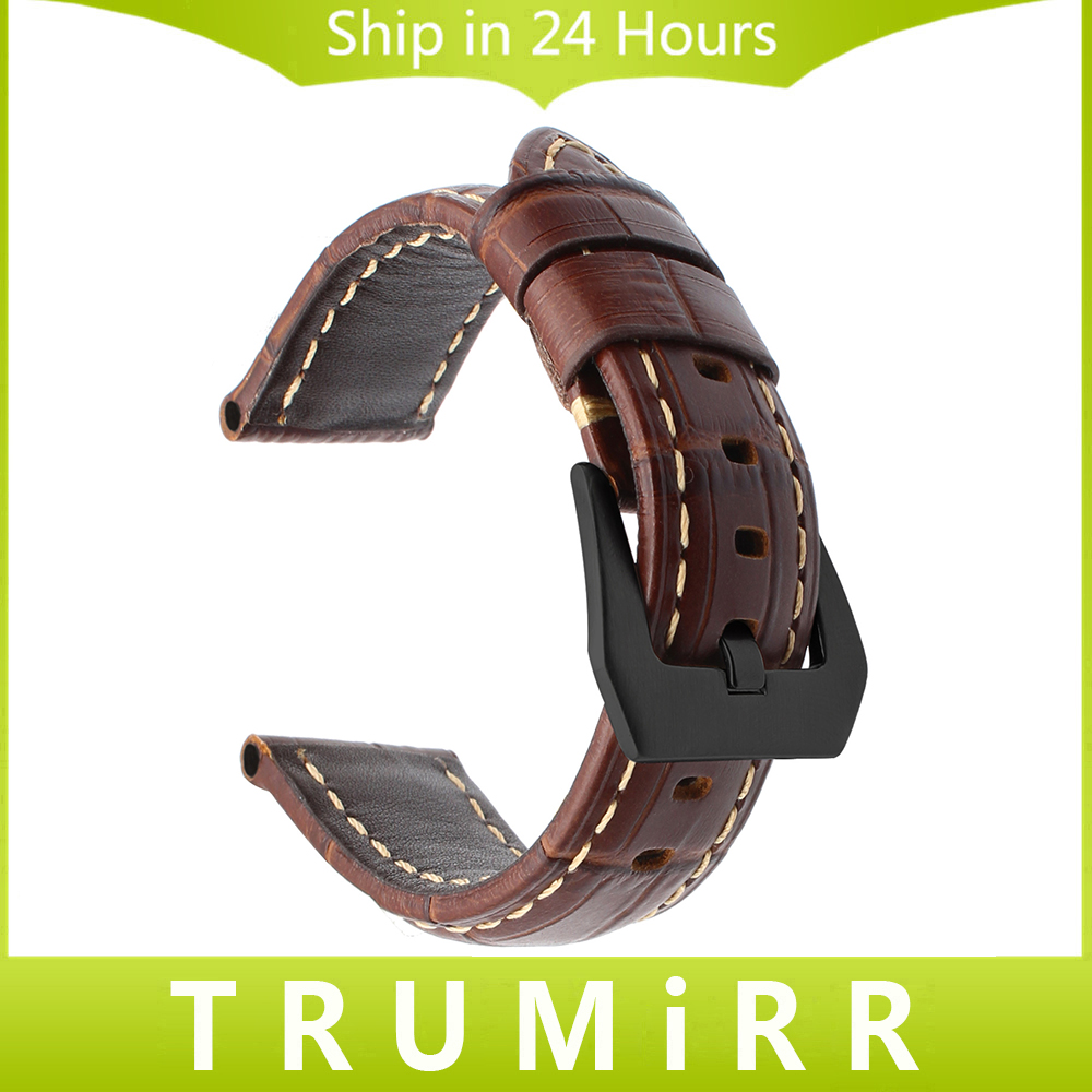 Italian Genuine Leather Watchband 20/22/24/26mm for Panerai Luminor Radiomir Watch Band 316L Stainless Steel Clasp Wrist Strap new arrive top quality oil red brown 24mm italian vintage genuine leather watch band strap for panerai pam and big pilot watch