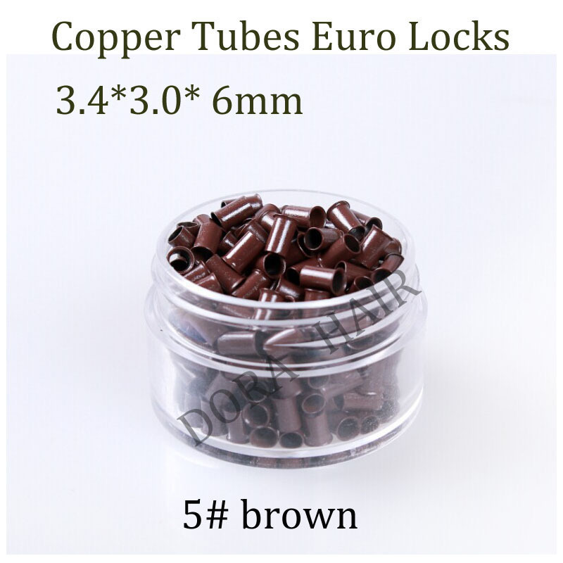343060 3460 1000pcs Long Euro Lock Flared Flaring Micro Copper Tube Rings Beads Links Human Hair Extensions tools 5# brown