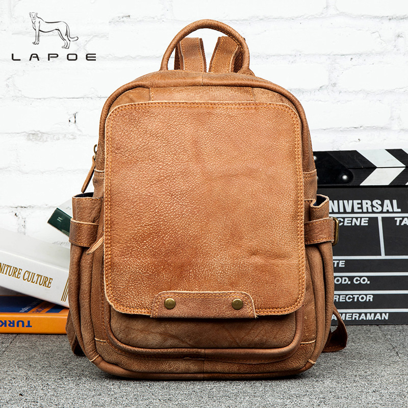 Cowhide Men's And Women Fashion Pockets Backpack Genuine Leather Casual Double Shoulder Travel Satchel Bags Mochila Feminina concise women s satchel with double zip and pu leather design