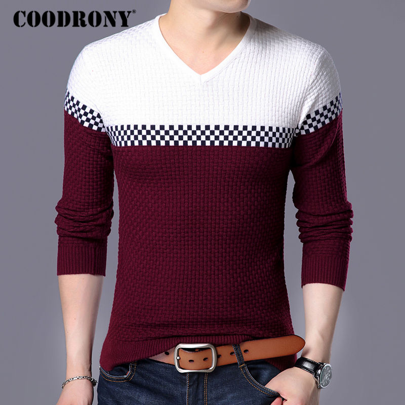 Coodrony Autumn Winter Warm Wool Sweaters Casual Hit Color  Patchwork V-neck Pullover Men Brand Slim Fit Cotton Sweater 155 #4