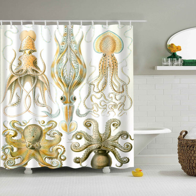 2018 Luxury Smart Vintage Octopus Sailing Ship Shower Curtains Custom Design Curtain Bathroom Waterproof Polyester
