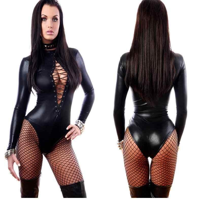 Frauen Sexy Schwarz Leder Dessous Bodys Erotische Trikot Kostüme Gummi Flexible Hot Sexy Latex Catsuit Catwomen Kostüm